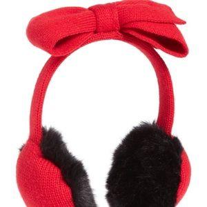 Kate spade half bow earmuffs in charm red nwt
